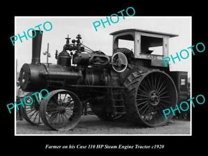 OLD 8x6 HISTORIC PHOTO OF FARMER & HIS CASE 110 HP STEAM TRACTOR c1920 2