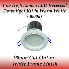 15 watt LED Recessed Downlight Kit in Warm White with White Frame