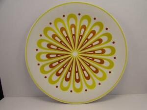 """Pom Pom 3303 by Mikasa 12"""" Chop Plate Ironstone Yellow & Rust Abstract P15"""