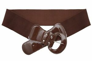 Belt Easy Wear Style Fashion Women Wide Chocolate Brown Elastic Band Size S M