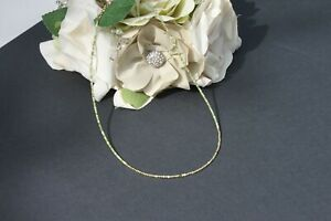 "Genuine Green Opal ""Strongest Woman Alive"" Morse Code Choker/Necklace 14kt GF"