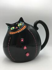 Department 56 Halloween BLACK CAT PARTY PITCHER Ceramic Whimsical Retired