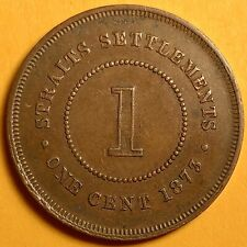 1873 Straits Settlements /Malaysia, Queen Victoria, One Cent,Copper Coin,Antique