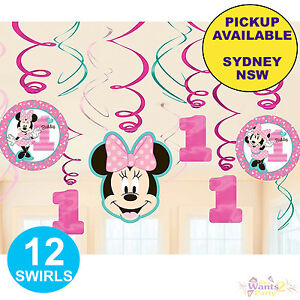 MINNIE MOUSE 1ST BIRTHDAY PARTY SUPPLIES 12 SWIRL HANGING FOIL DECORATIONS