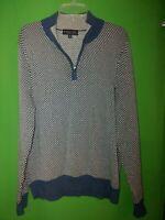 2661) BROOKS BROTHERS medium men's M blue check cotton 1/4 zip up sweater M