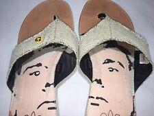 Limited ANDY WARHOL Royal Elastics Canvas/Rubber Mens Flip Flop Sandals Size 13D