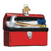 RED TOOLBOX TOOL TOOLS HOME REPAIR OLD WORLD CHRISTMAS GLASS ORNAMENT NWT 32301