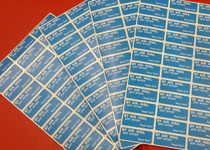 Airmail Stickers ........Sheets of 36 (Par Avion)....Royal Mail stickers