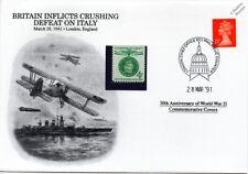 La segunda guerra mundial 1941 Gran Bretaña derrotas italiano Azul Marino (cabo Matapán) Tapa Sello (Danbury Mint)