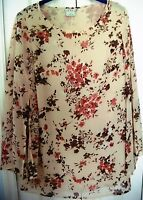 FRED DAVID Large Fluid Sheer Flowered Blouse-Tan/Brown-Butterfly Liquid Sleeves