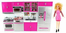 My Modern Kitchen Full Deluxe Kit Battery Operated Toy Doll Kitchen Playset w...