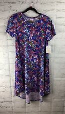 LuLaRoe, NEW With Tags; Carly Dress, XS; Blue, Pink, White Geometric Line Print