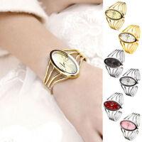 Womens Lady Oval Gold/Silver-Tone Bangle Cuff Bracelet Analog Quartz Wrist Watch
