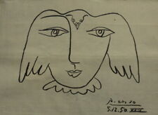 PABLO PICASSO INK DRAWING   ON PAPER ---- SIGNED - / / ------/ / /---