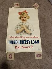 Wwi Poster Original Third Liberty Loan Daddy Bought Me A Government Bond