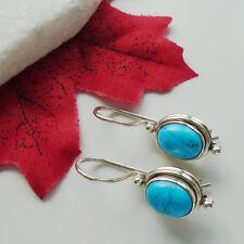 Mohave Türkis blau oval modern Ohrringe, Ohrhänger, 925 Sterling Silber, neu