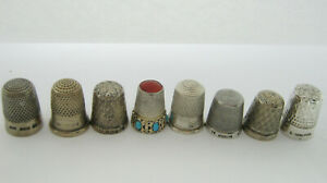 Antique Sterling Silver Thimbles Including Charles Horner x 8 Job Lot 37.6 Grams