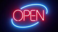 "Open Shop Art Banner Acrylic Neon Sign 14""x10"" Light Lamp Bedroom Decor"