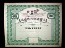 Cabañas Progreso SA Uruguay 1946 Share certificate