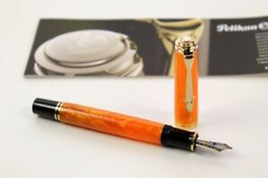 Pelikan Sovereign 600 Vibrant Orange Gold Pen -M- Special Edition New Fountain