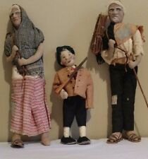 "2 Rare Antique 14"" Americana Paper Mache Folk Art Dolls & 10"" Cloth Hunter Doll"