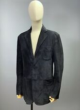 ERMENEGILDO ZEGNA Black 100% Suede Leather Blazer Jacket Size M / 50 Men's Coat