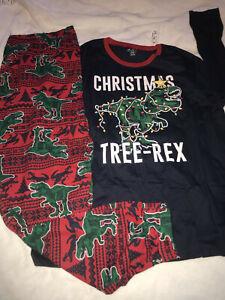 NWt glow dinosaur pajamas Mens XL dad family Christmas tree rex childrens place