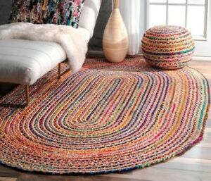 hand braided colorful cotton chindi jute oval rug multi colors decor oval rugs