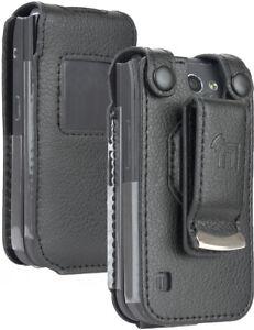 Black Vegan Leather Case with Belt Clip Screen Cover for Nokia 2720 V Flip Phone