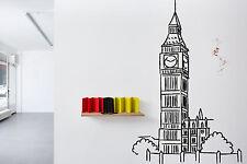 Wall Vinyl Sticker Decal Skyline Horizon Panorama City Big Ben London F1751