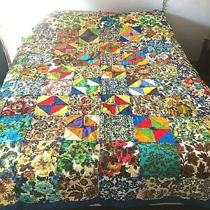 "New Home Made Vintage Upholstery Square Quilt Blanket Unused Cotton 76"" x 90"""