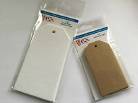 STIX 2 WHITE / BROWN CARD TAGS, PARCEL TAGS, GIFT TAGS TOPPERS