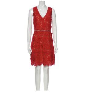 MICHAEL KORS Red Floral Appliqué Lace Pattern Knee-Length Sz10 Dress