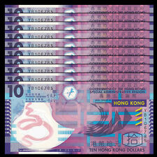 Lot 10 PCS, HK HongKong Hong Kong 10 Dollars, 2014, Ploymer, P-401d, UNC