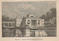 A2204 Varsavia - Palazzo reale di Lazienschi - Xilografia del 1895 - Engraving
