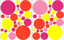 54 PINKS YELLOW ORANGE POLKA DOTS WALL DECAL STICKER
