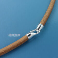 Sterling Silver Hook Clasp 4mm Natural Tan Genuine Leather Cord Choker/Necklace