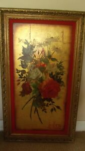 "Roses on Gold Leaf by Famous Floral Painter & Teacher Gary Jenkins 43 1/2"" x 25"