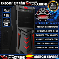 Ordenador Gaming Pc Intel i3 6100 8GB DDR4 1TB Asus GTX1050Ti Cerberus 4GB DDR5