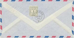 ZANZIBAR 1964 POSTAGE DUE 1 Sh. on Airmail-cvr from Germany EXHIBITION-ITEM