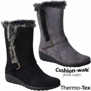 LADIES WINTER BOOTS SNOW THERMO TEX WARM THERMAL SKI FUR NON SLIP MID CALF BOOTS