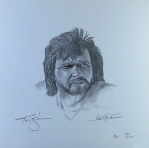 Ken Stabler Todd Marinovich Dual Signed Autographed 18X18 Lithograph Raiders JSA