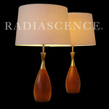 PAIR TONY PAUL WESTWOOD WALNUT BRASS MODERN ATOMIC BOWLING PIN TABLE LAMPS 1950s