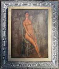 ANTIQUE FINE OIL MODERNIST PAINTING NUDE & CAT INSPIRED BY MODIGLIANI NYC ESTATE