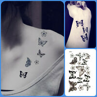 Butterfly Flower Waterproof Temporary Tattoo Fake Sticker Henna For Women Girls
