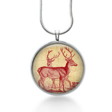 Red Deers Necklace  - holiday  gifts , silver plated pendant , christmas gifts
