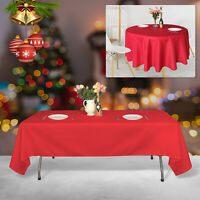 Rectangle Round Red Tablecloth Polyester Table Cover Party Tableware Decor