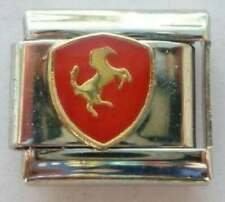 Ferrari logo enamel 9mm stainless steel Italian bracelet charm link new