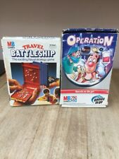 Vintage TRAVEL BATTLESHIP MB Games 1982 & OPERATION MB/Hasbro games to go 2005