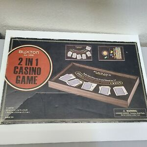 BUXTON 2 IN 1 CASINO GAME Black Jack & Roulette wood table Betting games